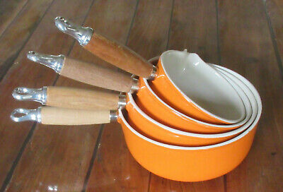 Lot de 4 casseroles LE CREUSET orange