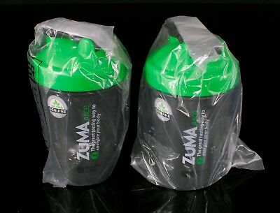 ZUMA Juice 20 oz. Blender Bottle Set of 2 Bottles BRAND NEW UNUSED Black & Green