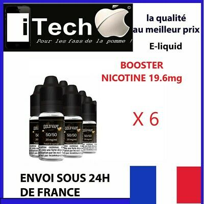 Pack Booster Nicotine 20mg 10 ml  DIY X 6 Flacons E-Liquide  fabriqué FRANCE