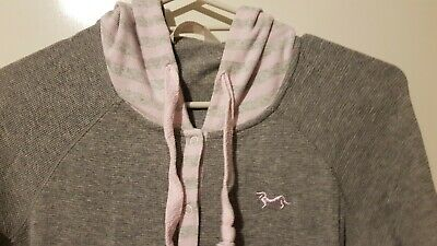 Peter Alexander One-piece Pjs Pajamas Grey Pink With Hood XS to Fit Size 8 10 12