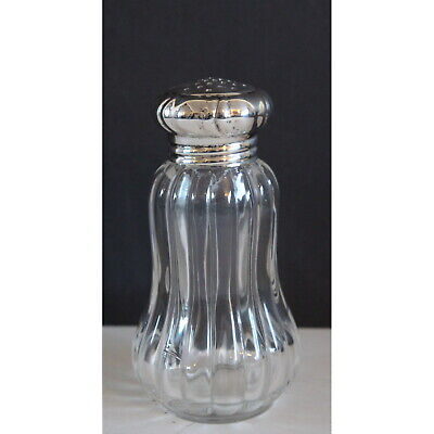 A Victorian Baluster Glass & Silver Topped Sugar Sifter Shaker