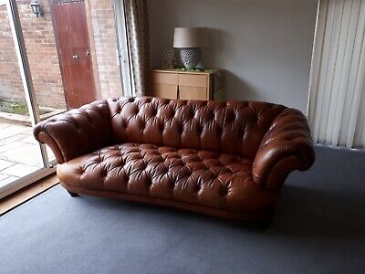 Oskar leather 4 seater Chesterfield and club chair