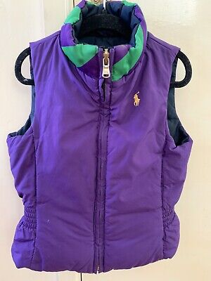 Ralph Lauren Polo Gilet Reversible Purple And Blue Gilet Aged 4 Years Vgc