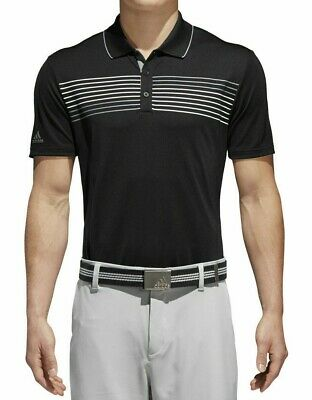 NEW Adidas Men's Essential Textured Stripe Golf Polo Size Large Black Gray NWT