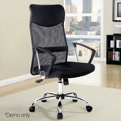 Executive High Back Mesh Office Chair w Breathable Fabric and PU Leather Black