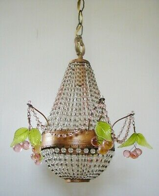 Fabulous French Victorian Colored Crystal Beaded Chandelier / Pink Cherry Fruit