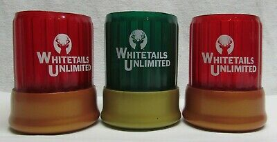 (3) Whitetails Unlimited Can Koozie Red Green Shotgun shell Casing soda beer