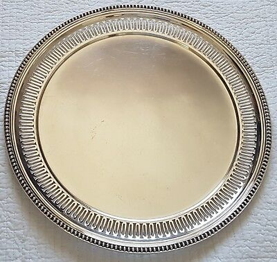VICTOR SAGLIER GRAND LOURD PLAT ROND AJOURE METAL ARGENTE PERLE DISH TRAY 39 cm.