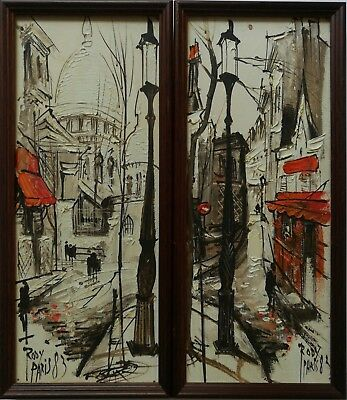 (Rody) Rodica Iliesco (B.1950) Signed Pair Original Parisian Scene Oil Paintings
