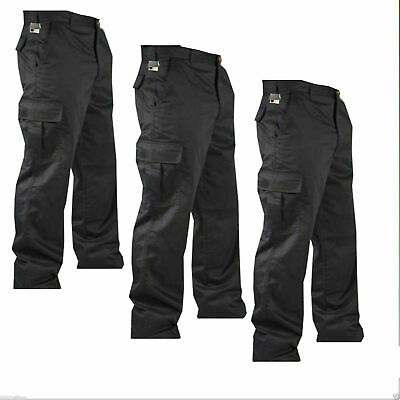 """Mens Cargo Army Combat Work Trousers Pants 32""""- 48"""" with 32"""" Leg Size Black"""