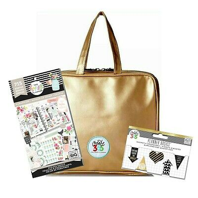 Create 365 Happy Planner Storage Case Bag Gold Farmhouse Sticker Book Bookmarks