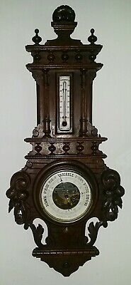 FRENCH ANTIQUE CARVED OAK WOOD BLACK FOREST BAROMETER WITH CLOCK XIXth
