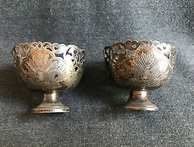 Antique Silver Pair Ottoman  Zarf Egg Holder Thugra  engraved cannons military