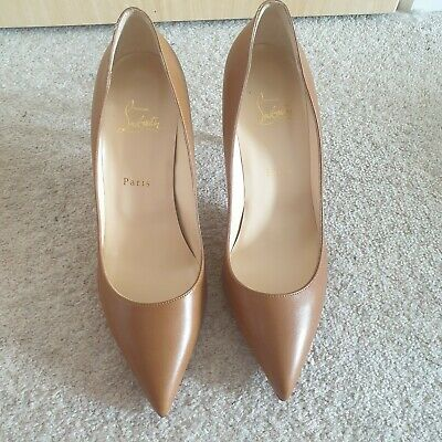 5f48385fa53 NEW GENUINE CHRISTIAN Louboutin Pigalle 85 Nappa Shiny Size 41 Tan Brown  Nude