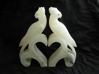 ANTIQUE FRENCH ALABASTER BOOK ENDS,PARROTS,EARLY20th CENTIURY.