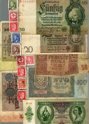 Nazi Germany & Occupied Europe Banknote, Coin And Stamp Set  # 88