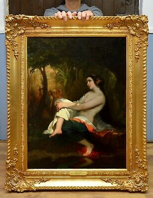 Fine Large Original Antique Mid 19thC Oil Painting Orientalist Nude in Landscape