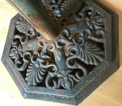 VINTAGE CAST IRON PEDESTAL TABLE BASE ORNATE umbrella  MACHINE STAND art deco