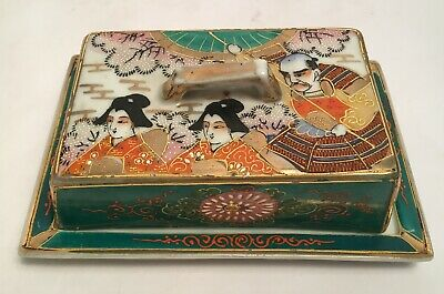 Beautiful Vintage Antique Hand Painted Samurai Butter Dish Japan