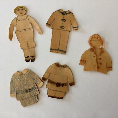 Vintage Handmade Paper Doll & Outfits