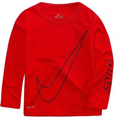 Nwt Nike Boys Size 4T Red Thermal Long Sleeve Shirt W/ Oversized Swoosh Msrp $24