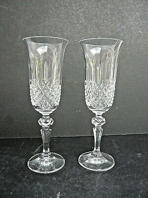 Pair of Lovely Crystal / Cut Glass Champagne Flutes