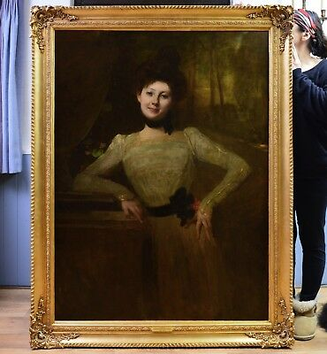 V Large Fine Antique Victorian Oil Painting Portrait Young Girl Society Beauty
