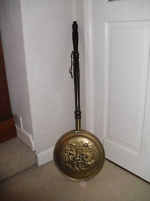 Antique / Vintage Brass Bed Warming Pan, Raised Design of People Outside Inn