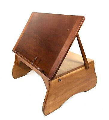 Antique Art Deco Wooden Bed / Lap Table / Artist Easel / Work Bench