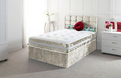 New Crushed Velvet Divan Base With Under Bed Drawer 4Ft 4Ft6 5Ft Double King