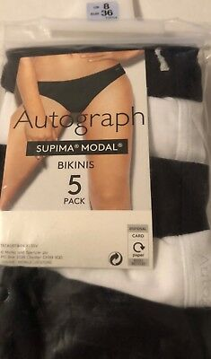 9176d7d95ad2 BNWT M&S MARKS Spencer Autograph 3 Pack Supima Modal Thongs Black ...