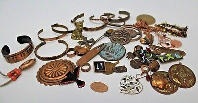Vintage Lot Of 48 Copper Brass 1 Lb 9 Oz Earrings Pendant Cuff Bracelet Chain
