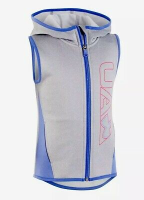 Nwt Under Armour Girls Sleeveless Zip Up Hooded Vest Size 6 ~ Msrp $40.00