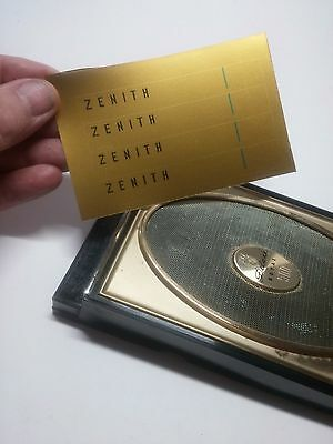 Zenith Royal 500H Transistor Radio Gold Dial Replacement Labels Restoration 4-Up