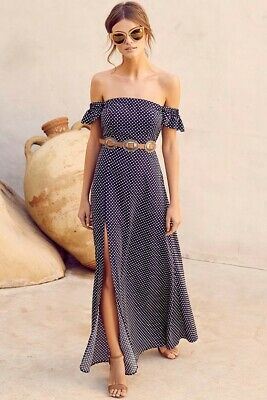 c086b5d5aaa5 LULU'S Dream Love Navy Blue Polka Dot Off-the-Shoulder Maxi Dress NEW ~