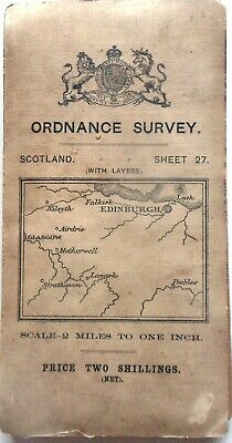 ORDNANCE SURVEY of SCOTLAND Half-inch map EDINBROUGH District 1910