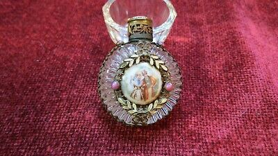 Antique Czech Glass Perfume Bottle Mini Pink Jeweled Filigree Enamel