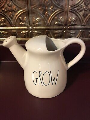 New Rae Dunn Grow Watering Can Ivory White LL Farmhouse Artisan Pottery 2019