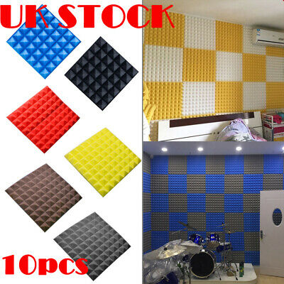 10Pcs Soundproof Acoustic Foam Panel Sound Stop Absorption Sponge 30X30X5CM UK