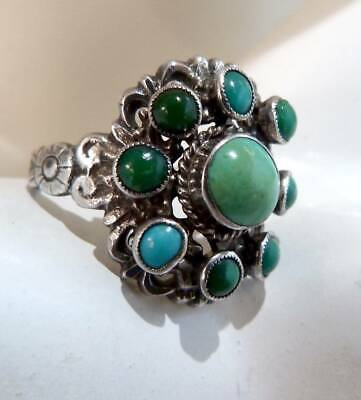 ANTIQUE ART DECO c 1930s SILVER TURQUOISE RING INDIAN NAVAJO  SOLID SILVER RING