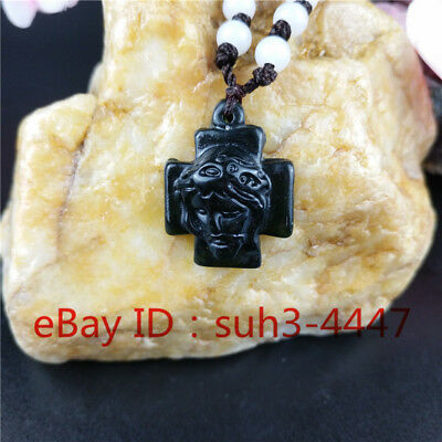 Chinese Natural Black Green Jade Cross Pendant Necklace Fashion Charm Jewelry A2