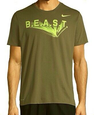 628a9f3a New NIKE Logo BEAST Tee Shirt Men Sm Athletic Cut DRI-FIT Olive Green Neon