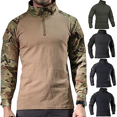 2fd9cf880 Mens Tactical Military Army Combat Long Sleeve Camouflage Shirts T-Shirts  Tops