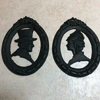 Vintage Cast Iron Oval Wall Hanging Set- Old Fashioned 1800's Lady & Gentleman