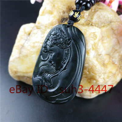 Chinese Natural Black Green Jade Beauty Pendant Necklace Fashion Charm Jewelry