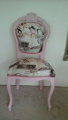 Louis french style reupholstered  pink  vintage shabby chic  chair