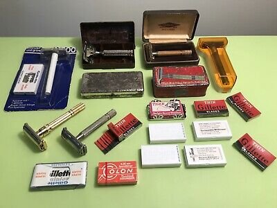 Safety Razor Lot Of 8 Vintage Aristocrat, Gillette, Ever Ready, Ideal, Rotbart..