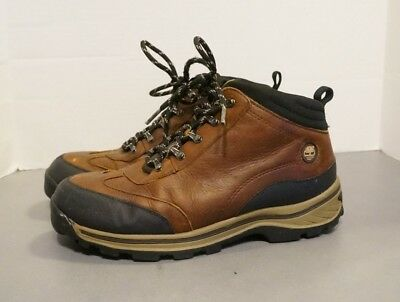 16bcd02b TIMBERLAND 22913 Brown Leather Trail Hiking Ankle Boots Kids Boys US Size 6