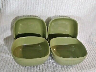 """Home Trends Canopy Square Bowls Stoneware Cereal Soup 6"""" Peapod Green Set 4 Dish"""