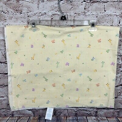 Vintage Carters Baby Receving Blanket Yellow Zoo Animals 30x40 Cotton